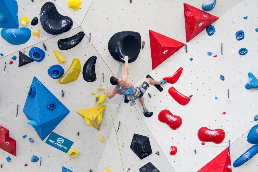 Climber on the lead wall