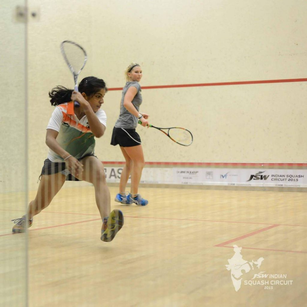 Janet Vidhi on a squash court.