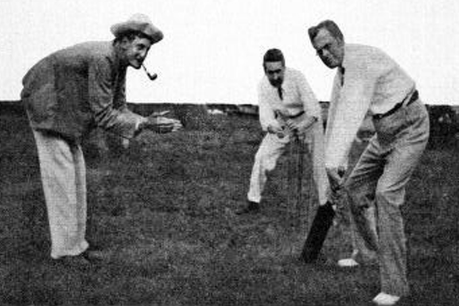 Cricketers play the game in the early 1900s